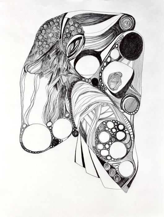 """Untitled Ball point pen drawing  12"""" x 9"""""""