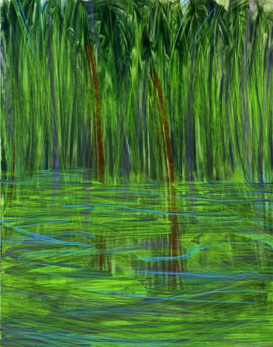 """Pond""  Digital acrylic painting with digital enhancement  10"" x 8"""